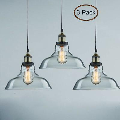 3 Hanging Glass Kitchen Lights Pendant Island Dining Room Hand Blown Ceiling