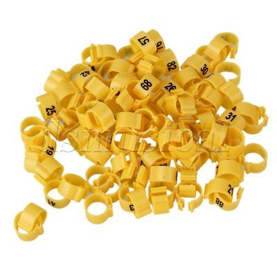 100 x Plastic 9.5mm Chicken Pigeon Leg Band Poultry Bird Numbered Rings Yellow (Plastic Chicken Rings)