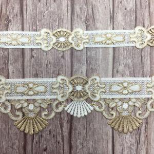 2 yardas ribete oro blanco flor sofá referencia cojines decorativos borde adornos cenefa