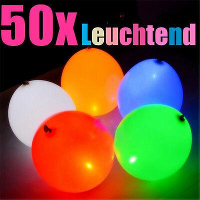 50x leuchtende LED Luftballons Party Hochzeit Geburtstag Ballons Deko Club Licht
