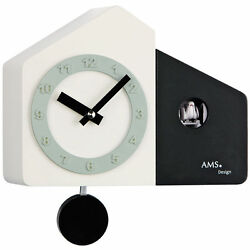 AMS Quartz Wall Clock Pendulum Clock Cuckoo Clock Wooden Housing White-Black NEW