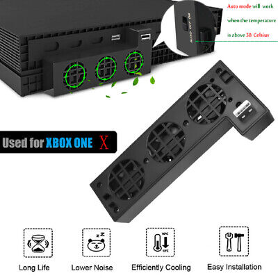 External Turbo USB Cooling Fan Cooler 3-Fan Black For Xbox One X Console AC1228