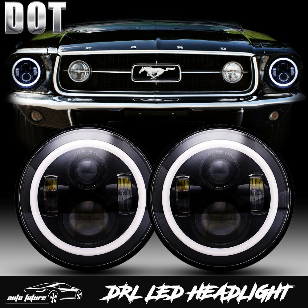 Dot Led Hi Lo Projector 7 Inch Round Headlights For Ford