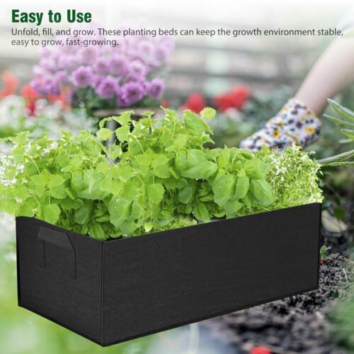Garden Planting Grow Bag Fabric Container Vegetable Flower Planter Rectangle Bed