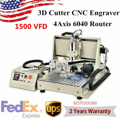 Usb 4 Axis 6040 Cnc Router Engraver Engraving Machine Metal Mill 3d Cutter 1500w