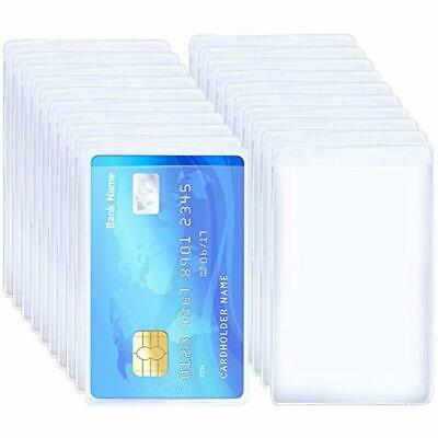 20pcs Transparent Vertical Id Credit Card Holder Business Protector Sleeves