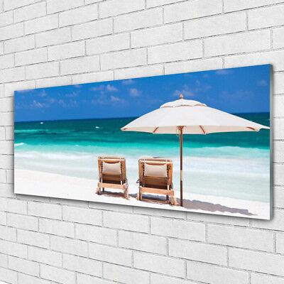 Acrylglasbilder Wandbilder Druck 125x50 Strand Liegestühle Landschaft