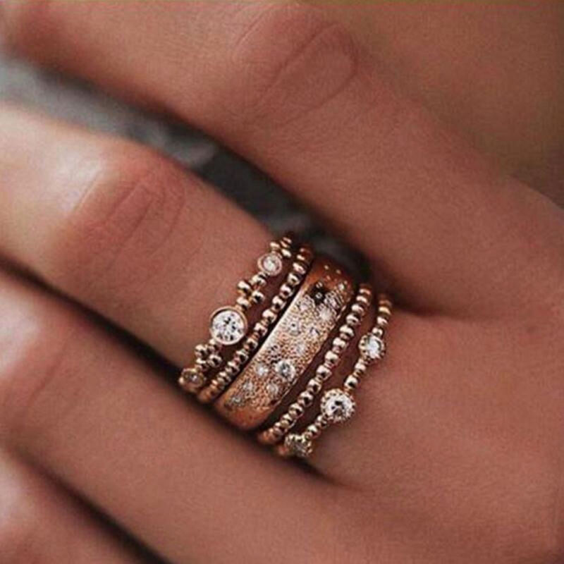 5Pcs/Set Crystal Rose Gold Stackable Ring 5 Sparkly Rings Bo