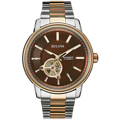 Bulova Men's 98A140 Automatic Skeleton Window Rose Gold and Silver 45mm Watch