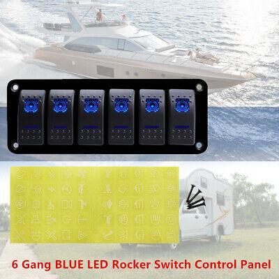 6 Gang Blue Led 12v 24v Rocker Switch Control Panel For Car Boat Marine Rv Yacht