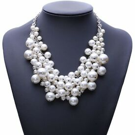 New fashion chunky luxury bubble simulated pearl pendant choker Necklace statement