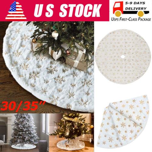 Christmas Tree Skirt Golden Snowflake Plush Floor Faux Fur Mat Xmas Home Decor Holiday & Seasonal Décor