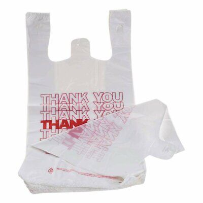 Pack of 100 Thank You Plastic Bags 11.5 x 6.5 x 21 Carry-Out T-Shirt