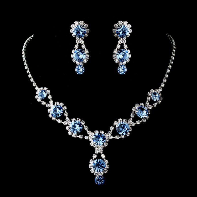 Frozen Light Blue Wedding Necklace&Earring Set w Crystals and Clear Rhinestones