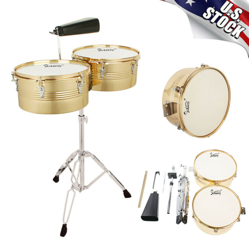 "Glarry 13"" & 14"" Timbales Drum Set Percussion Instrument With Stand and Cowbell"