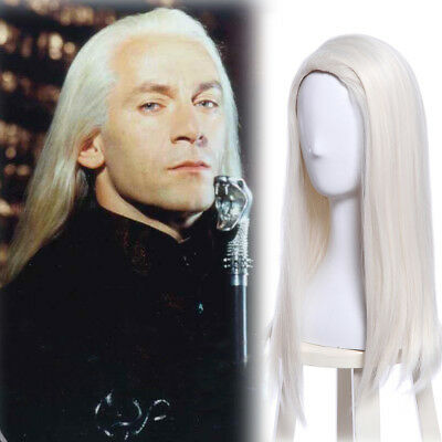 Light Blonde Lucius Malfoy Wig Long Straight Hair Wigs Cosplay Halloween Party