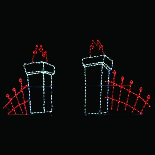 Halloween Light Display Spooky Graveyard Fence Entrance Outdoor LED Decorations