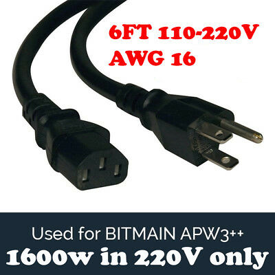 BITMAIN APW PSU Power Supply Cord Cable Antminer MEDIUM AWG16 BTC L3+ D3 S9 6FT