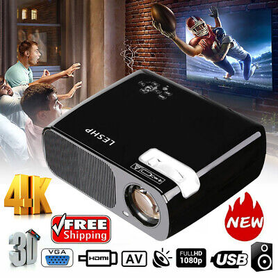 7000 Lumen 1080P Full HD 3D LED Projector LCD Home Theater VGA HDMI TV Cinema HT