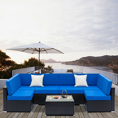 Outdoor Patio Furniture Couch 7PCS Wicker Rattan Cushioned Sofa Sectional Set ()