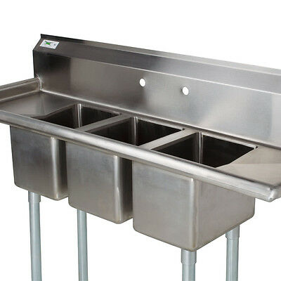 58 Stainless Steel 3 Compartment Commercial Dishwash Sink Restaurant Three Nsf