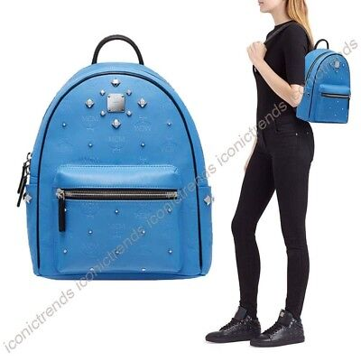NWT 🌐 MCM Small Visetos Stark Odeon Travel School Backpack in Tile Blue Silver
