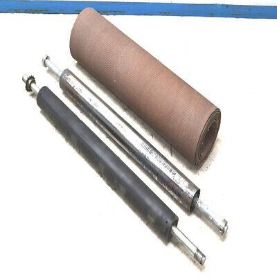 Flat 36-34w X 174l Conveyor Drive Belt W 2 50l X 3.5 O.d Rollers