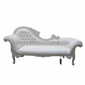 NEW Paris Chaise Longue French Sofa - White