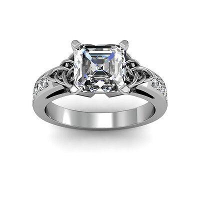 1.44ct Asscher Celtic Natural Diamonds Engagement Ring VS2-G GIA Platinum Gold