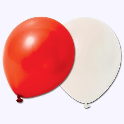 50 RED AND WHITE PLAIN BALLOONS wedding party birthday England World Cup Decor