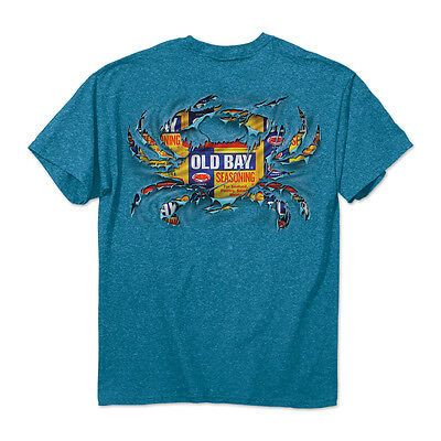 Old Bay Ripped Crab Sapphire T-Shirt- Maryland My Maryland - NEW - Old Bay Crab