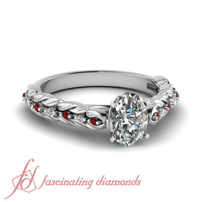 Pave Set Oval Shaped Diamond & Round Ruby Engagement Ring VS1-D Color GIA 1 Ct