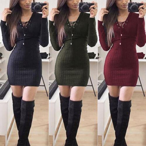 Damen Longshirt Pullover Minikleid Strickbluse V-Ausschnitt Celebration Langarm Kleid