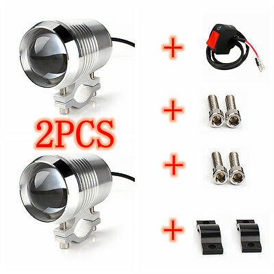 2Pcs Motorcycle 30W U2 CREE Chip LED HeadLight Spot Fog Driving Light Switch