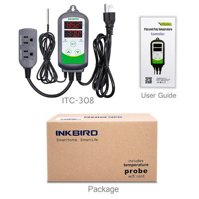 Inkbird Itc-308 Smart Thermostat Digtial Temperature Controller 110v Heater Cool
