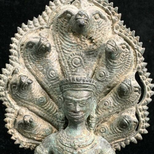 Finely cast bronze Cambodia Khmer-style Buddha seated on Naga throne 20th c
