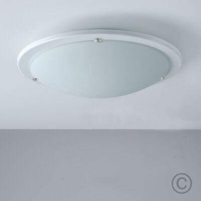 Modern White Frosted Glass Round Flush Bathroom Ceiling Light Fitting Lights NEW