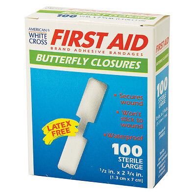 100 BRAND NEW LARGE BUTTERFLY WOUND CLOSURES BANDAGES STRIPS BOX OF - Strip Wound Closure Strips