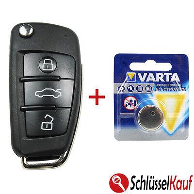 Audi Klappschlüssel A1 A3 A4 A6 A8 TT Q7 Autoschlüssel 3 Tasten Gehäuse+BATTERIE