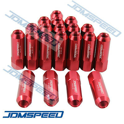 20PC RED JDMSPEED M12X1.5 60MM EXTENDED FORGED ALUMINUM TUNER RACING LUG NUT SET ()