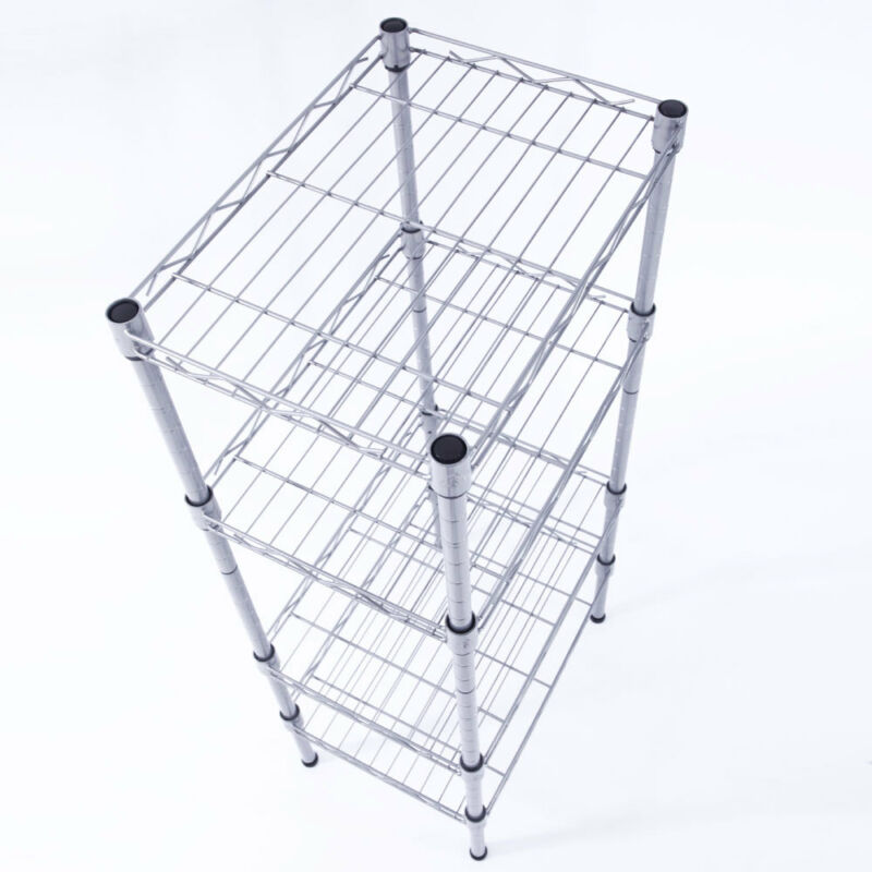 4 Tier Corner Shelves Wire Shelving Rack Shelf Adjustable Storage Unit Organizer