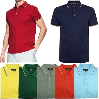 Men's Polo Shirt Dri-Fit Quick-Dry Golf Sports Tee Cotton Jersey Stripe T -
