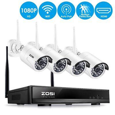 ZOSI 4CH 1080P HD Wireless NVR Outdoor Funk Video Überwachungskamera System Set