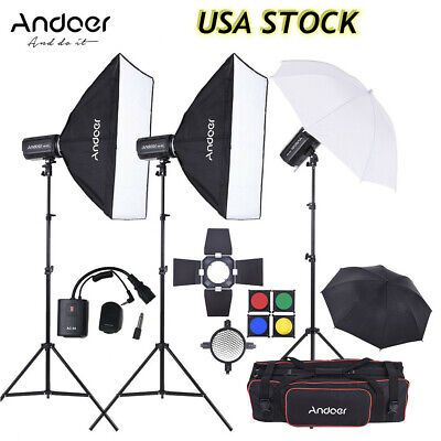 Andoer 900W Studio Strobe Flash Light Kit+Light Stand+Softbox Umbrella+Bag J4R7