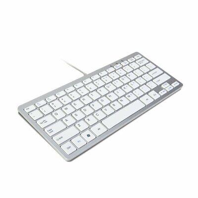 TRIXES Wired Slim USB Keyboard Silver & White