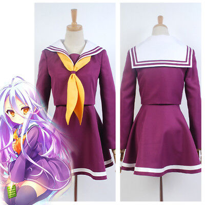 No Game No Life Kuuhaku Shiro Outfit Dress Cosplay Costume Uniform Halloween Set](No Costume Halloween Outfit)