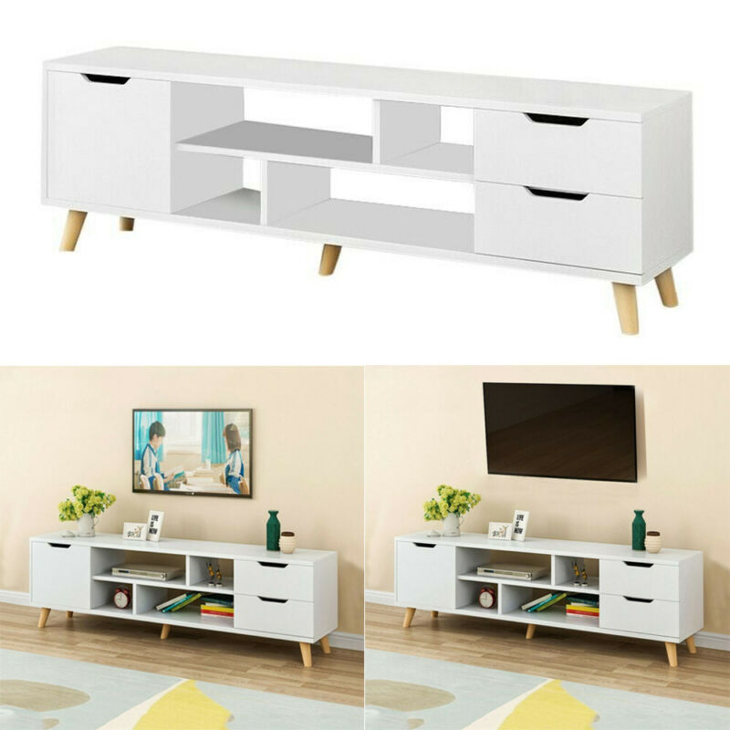 Rustic TV Stand Console Table Cabinet Storage for Living Roo