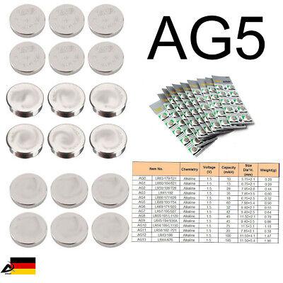 10er Blister AG5 LR754 LR48  Uhr Batterien Knopfzellen Alkaline Batterie