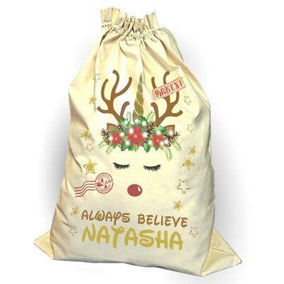 Sale Unicorn Santa Sack Christmas Reindeer Xmas Bag Stocking Personalised Name