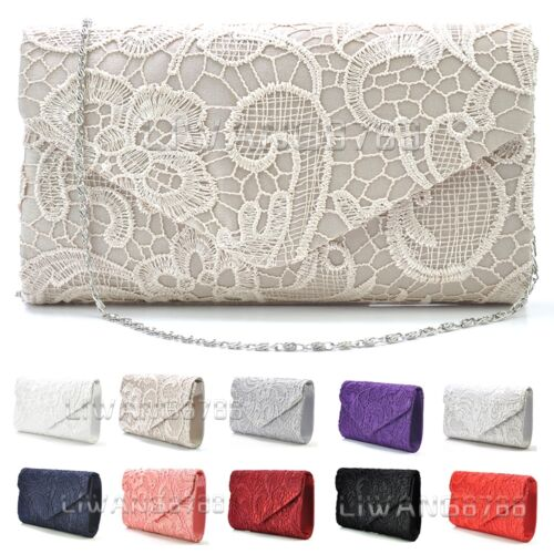 Women's Satin Lace Clutch Bag Evening Bridal Bag Wedding Fashion Prom Vintage UK